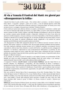 Al via a Venezia il Festival dei Matti_ tre giorni per «dissequestrare la follia» - Il Sole 24 ORE_28.05